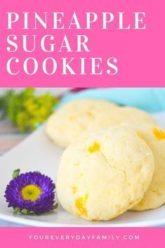 Make these pineapple sugar cookies as a fun alternative to your regular recipe for a wedding or baby shower, luau, or for a rainy day. They are soft and moist with just a hint of pineapple flavor. #pineapple #sugarcookies #cookies #moana #luau #dessert