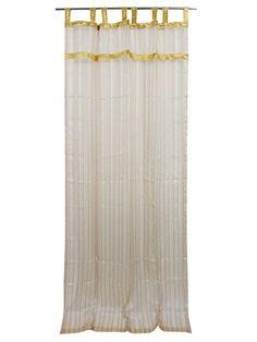 Sheer Curtain Panel Rod Pocket Stripe Beige Golden Tab Top Window Treatment Set of 2 Indian Curtains, Boho Curtains, Striped Curtains, Sheer Curtain Panels, Window Panels, Panel Curtains, Drapery, Antique Armoire