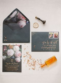 dramatic wedding invitation - photo by Greg Finck Photography http://ruffledblog.com/modern-romantic-wedding-in-provence