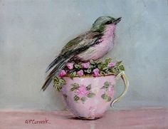 Ready to Frame Print - Bird in a Pink Tea Cup - Postage is included Worldwide by Gail McCormack♥♥ Illustrations, Illustration Art, Pink Tea Cups, Framed Prints, Art Prints, Bird Art, Vintage Images, Ana White, Original Paintings