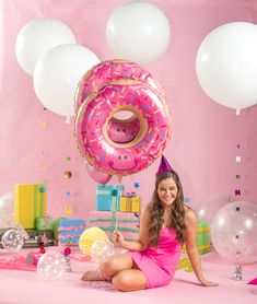 Donut balloons are our jam! Decorate your party with giant white balloons, tassels and pink party hats! Colourful Balloons, White Balloons, Mylar Balloons, Elmo Birthday, Dinosaur Birthday, Girl Birthday, Elmo Party, Dinosaur Party, Mickey Party