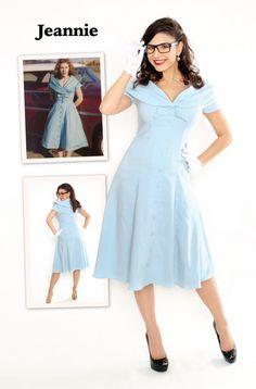 Bettie Page Jeannie Blue Dress   Jurken   Miss Vintage   Retro, vintage geïnspireerde dames kleding