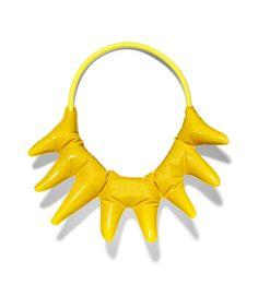 Misha Kahn Necklace: Sunburst, 2015 Resin, automotive paint, rubber tubing