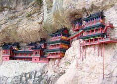 The Hanging Temple Monastery of Hengshan. Built in 491, an Architectural Wonder of the World. On the West Cliff of Jinxia Gorge more than 50 meters above ground. Hangs on the side of Hengshan Mountain, China sustained by only a few Wooden Poles. Has survived more than 1500 years. The extant Monastery was largely rebuilt and maintained in the Ming Dynasty and Qing Dynasty.