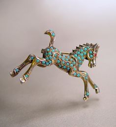 Silver Persian Turquoise Horse Brooch Gold Gilt by sodear2myheart, $99.00