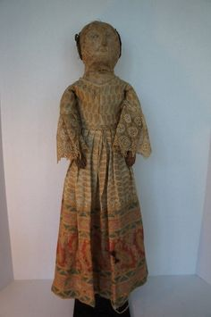 """Earliest Cloth Doll I have ever owned. Homepun Linen 24"""" 1830-40"""