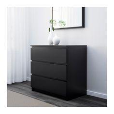 MALM Kommode med 3 skuffer - brunsvart - IKEA