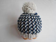 bonnet bebe garcon,bonnet bebe fait main en laine marine et gris : Mode Bébé par chtiewie