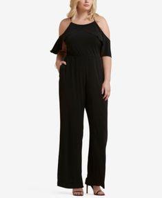 faba12fa5527 Lauren Ralph Lauren Plus Size Velvet Cold-Shoulder Surplice Jumpsuit ...
