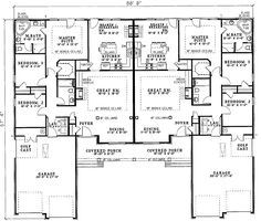 This traditional design floor plan is 3162 sq ft and has 3 bedrooms and has 2 bathrooms. Townhouse Designs, Duplex House Design, Duplex Floor Plans, House Floor Plans, Family House Plans, Best House Plans, Master Suite, Multi Family Homes, Traditional House Plans