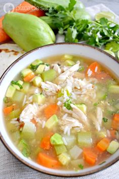 Caldo de pollo con arroz - Art Tutorial and Ideas Baby Food Recipes, Mexican Food Recipes, Soup Recipes, Chicken Recipes, Cooking Recipes, Ethnic Recipes, Healthy Snacks, Healthy Eating, Healthy Recipes