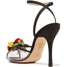 Charlotte Olympia Tropicana embellished canvas and PVC sandals (925 CAD) ❤ liked on Polyvore featuring shoes, sandals, embellished sandals, black strap sandals, peep toe sandals, black sandals and clear sandals