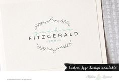 Premade logo design floral laurel logo website logo blog logo photography designer branding