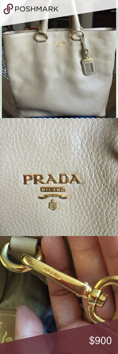 Prada Shopper/ Crossbody Tote 💯 AUTHENTIC Like new! This bag was barely used and has been stored in its dust bag. Gorgeous neutral colored leather with light gold hardware. Comes with dust bag and authenticity card. Prada Bags Satchels