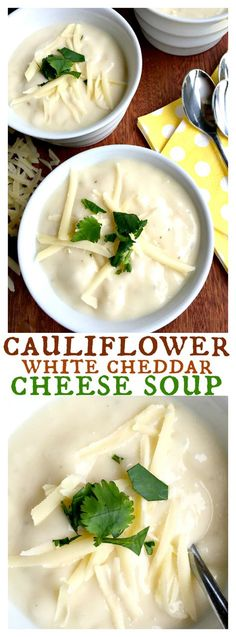 Cauliflower White Cheddar Cheese Soup can be pureed to a creamy or chunkier-style soup! (Cheddar Cheese Making) Pureed Food Recipes, Diet Recipes, Cooking Recipes, Healthy Recipes, Atkins Recipes, Diabetic Recipes, Puree Soup Recipes, Soft Food Recipes, Chicken Recipes
