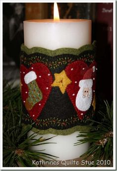 "could make seasonal candle-wraps to use with ""flameless"" candles . Felt Christmas Decorations, Christmas Candles, Handmade Decorations, Holiday Decor, All Things Christmas, Christmas Crafts, Christmas Holidays, Christmas Ornaments, Felt Gifts"