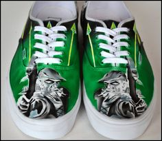 Green Arrow Sneakers  Mens Vans Hand Painted Shoes by PricklyPaw