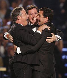 Jon Stewart, Stephen Colbert, and Steve Carell. Three of the best men on earth.