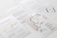 Moderni yksinkertainen hääkutsu - hääinfo - piirretty kartta / MakeaDesign