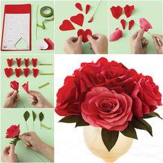 Como fácil diy de papel crepom Rose