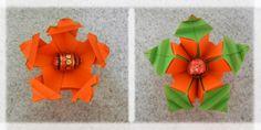 "Mandala ""Duas Cenouras"", de Yara Yagi - frente e verso - origami"