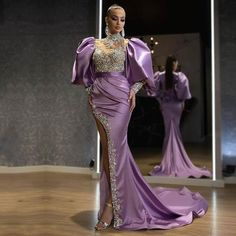 Cheap Evening Dresses, Buy Quality Weddings & Events Directly from China Suppliers:Eightale Arabic Evening Dresses High Neck Beaded High Side Split Satin Purple Prom Dresses Sexy Party dress for Women 2020 Enjoy ✓Free Shipping Worldwide! ✓Limited Time Sale ✓Easy Return. High Fashion Dresses, Latest African Fashion Dresses, Sexy Dresses, Beautiful Dresses, Prom Dresses, Dress Fashion, Cheap Evening Dresses, Party Dresses For Women, Lace Gown Styles
