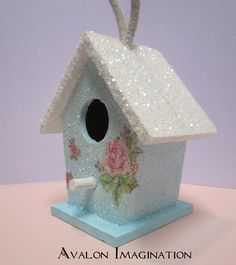 Glitter Birdhouse Shabby Chic Home Decor Accessory Ornament in aqua with pink roses. via Etsy.