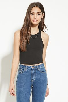 A heathered knit crop top with a sleeveless cut and a round neckline.