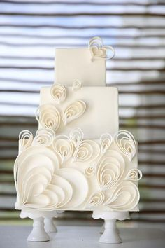 Beautiful White Quilling Wedding Cake | Beautiful Cake Pictures. Join us at Http://creative-theme-wedding-ideas.com for more original ideas for your day