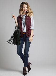 Jackets and Tops - Vests - Field to City Vest - Burgundy - Max Jeans c32b984f7c4