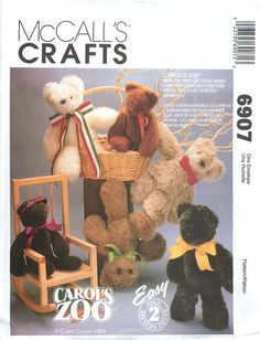 """McCall's Crafts 6907 Sewing Pattern for 16"""" Stuffed Bears, Rabbits and Lambs by…"""