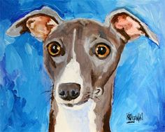 Italian Greyhound Art Print of Original Acrylic by dogartstudio