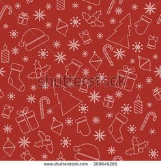 Christmas seamless pattern with line christmas trees, gifts, snowflakes, mittens