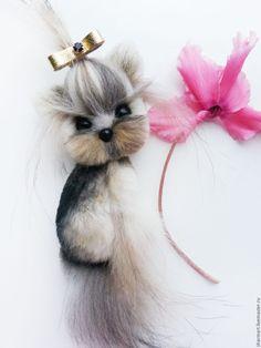 Купить Брошка собачка Йорк - комбинированный, брошка, брошь собака, Йоркширский терьер, йорк
