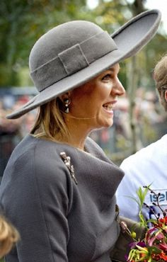 Dutch Queen Maxima decorative hat, and black stone earrings details during the Isala Hospital opening in Zwolle, The Netherlands.