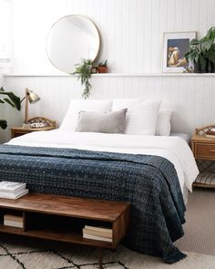 Chic boho coastal home tour. Bedroom with full length half height wall shelf for styling plants, artwork, mirror and other decor. VJ panel wall in bedrom. Stylish coastal boho bedroom renovation.