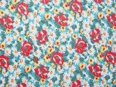 Vintage Feedsack Flour Sack Fabric Aqua Green Poppies 1930's 1940's Cotton Quilt Fat Quarter Patchwork