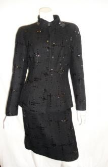 Chanel Black Sequent Skirt Suit Size 44  Listed on Malleries