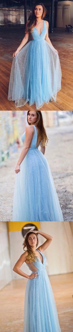 Unique A-line V Neck Sky Blue Long Prom Dress M2602