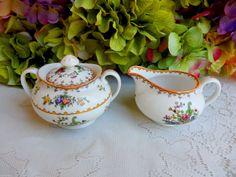 Beautiful Vintage Copeland Spode Porcelain Sugar & Creamer ~ Peplow #CopelandSpode