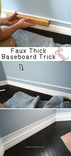 Magnificent DIY Home Improvement On A Budget – Faux Thick Baseboard – Easy and Cheap Do It Yourself Tutorials for Updating and Renovating Your House – Home Decor Tips and Tricks, Remodeling and Deco ..