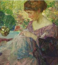 Richard Emil Miller (1875-1943) Young Woman Sewing