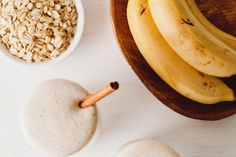 Servings: 1  Ingredients  ¼ cup raw rolled oats 1 frozen banana, cut into chunks ¼ teaspoon cinnamon 1 scoop protein powder (whey or pea protein) ½ cup almond milk ½ teaspoon vanilla extract pinch of salt Preparation  Add all of the ingredients to a blender and blend until smooth. Serve with a sprinkle of cinnamon on top.