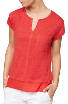 Sanctuary Split-Neck Layered-Look T-Shirt - Pomegranate XS Nordstrom Half Yearly Sale, Sanctuary City, Look T Shirt, Layered Tops, Mix, Blouses For Women, Tees, Shirts, My Style