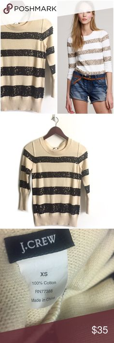J. Crew Sweater ▫️J. Crew Spangled stripe sweater  ▫️Color: Cream, Olive Green ▫️Material: 100% Cotton  ▫️True to Size ▫️Missing sequins  ▫️Good Preowned Condition J. Crew Sweaters