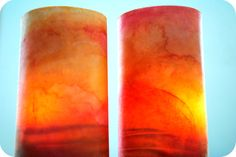 water colour paintings rubbed with oil to make lovely lanterns from gardenmama