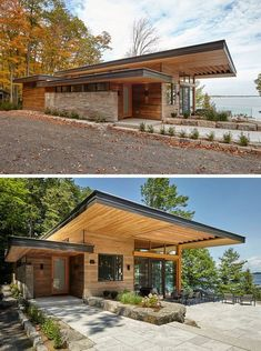 A Couple Of Contemporary Cottages Overlook A Lake In Canada This cottage has a contemporary design featuring large roof overhangs, ceiling heights with Douglas Fir wood ceilings and soffits, and exposed timber joists. Contemporary Cottage, Modern Cottage, Contemporary Design, Contemporary Apartment, Contemporary Office, Contemporary Bedroom, Wood Cottage, Contemporary Chandelier, Contemporary Architecture