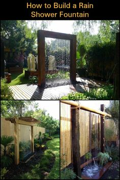 Transform Your Backyard into an Amazing Outdoor Space with this Contemporary Rai. Transform Your Backyard into an Amazing Outdoor Space with this Contemporary Rain Shower Fountain. Diy Garden Fountains, Diy Fountain, Outdoor Fountains, Backyard Water Fountains, Diy Water Feature, Backyard Water Feature, Contemporary Water Feature, Landscaping Supplies, Landscaping Ideas