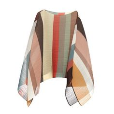 Pleats Please Issey Miyake Salvation rainbow-stripe pleated poncho top (41525 RSD) ❤ liked on Polyvore featuring multi, chiffon poncho and brown poncho