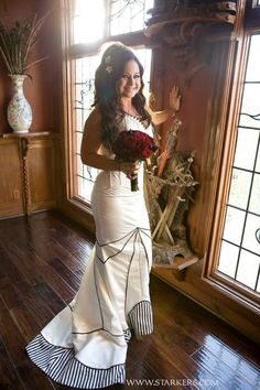striped panelled corset gown